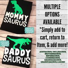 MommySaurus, DaddySaurus, Dinosaur Birthday Shirts, Dinosaur Shirt, Dinosaur Family Shirts, Dinosaur Birthday Party, AuntSaurus, Dinosaur by GarciaFamilyDesigns on Etsy https://www.etsy.com/listing/551450881/mommysaurus-daddysaurus-dinosaur