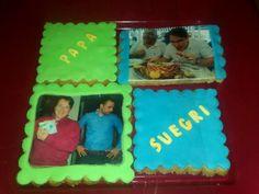 Unas galletas con foto y fondant como felicitación!