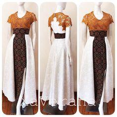 Long Dress Satin Brokat New Ideas Batik Kebaya, Kebaya Dress, Dress Pesta, Batik Long Dress, Modern Batik Dress, Dress Brokat Modern, Traditional Fashion, Traditional Dresses, Dress Batik Kombinasi
