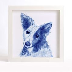 "Animal Art Print of Original Watercolor Painting, ""Blue-And-White"" series - Curious Dog. A lovely reproduction of my original watercolor painting CURIOUS DOG. This blue and white art print will bring a little elegance and interest to your home or office. I love the expression on the curious animals, so I paint a series of curious animal with blue and white color, I would like the paintings see like the Chinese blue and white porcelain. I painted this animal with Chinese brush, color and…"