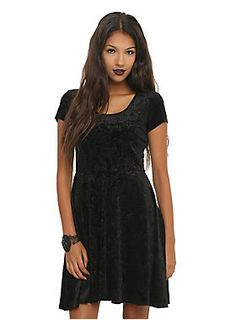 """<p><span id=""""webDesc"""">Black dress with a flocked filigree skull pattern and keyhole back with lace-up detail.</span><span id=""""webDescSpan""""></span></p>  <ul> <li><span id=""""bullet0"""">35"""" long from shoulder</span><span id=""""bullet0Span""""></span></li> <li><span id=""""bullet1"""">95% polyester; 5% spandex</span><span id=""""bullet1Span""""></span></li> <li><span id=""""bullet2"""">Wash cold; dry low</span><span id=""""bullet2Span""""></span></li> <li><span id=""""bullet3"""">Imported..."""