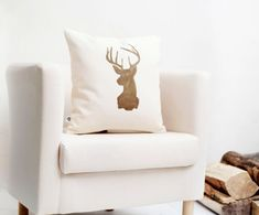 Deer head cushion cover Reindeer Christmas pillow gold print modern pillow winter pillow on Etsy, $29.00