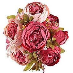 GTidea Artificial Peony Flowers Bouquet Blossom Silk Valentine's Day Gift Pink