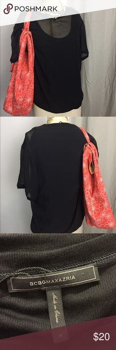 BCBG - Sheer top with lining Short sleeved sheer blouse with attached knit tank beneath. Perfect condition! BCBGMaxAzria Tops Blouses