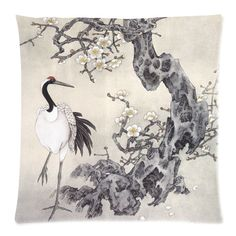 Gifts New Oriental Chinese Style Crane Home Pillow Case Cushion Cover 18'' Cotton Throw Pillow Case Home Decor Gift Twin Sides