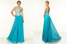 Chic Turquoise A-line Sweetheart Neckline Floor Length Beadings Prom Dress