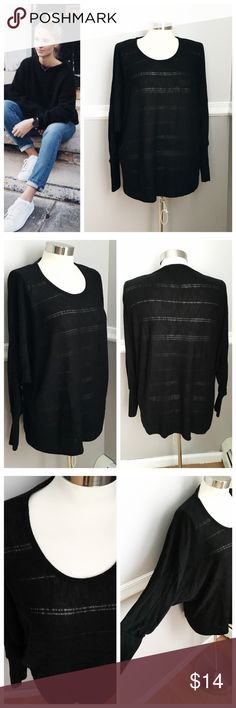 Forever 21 Black Sweater Thin sweater material. Horizontal stripes that are sheer. Flowly sleeves (see picture). End of sleeves are thicker material than the rest of sweater. First photo on left not actual item *just showing for style! BUNDLES 20% OFF 🎉 Forever 21 Sweaters