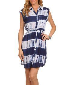 Another great find on #zulily! Ezra Navy & White Tie-Dye Button-Up Dress by Ezra #zulilyfinds