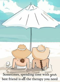 Beach Friendship Art Two Girls in Hats- Summer - Art for Beach Houses - Art for Women - Inspiration Best Friend Cards, Cards For Friends, Best Friend Quotes, Your Best Friend, Friendship Art, Friendship Stories, Genuine Friendship, Positive Quotes For Women, Miss You Cards