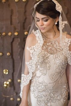 Cream wedding veil, Champagne bridal veil, Cathedral lace veil Mantilla, Beaded Lace Very detailed work with clear and clean high end embroidery. Mantilla Veil, Lace Veils, Wedding Veils, Lace Wedding, Wedding Dresses, Wedding Shoot, Elegant Wedding, Spanish Veil, Bridal Hair