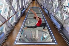 Experience an exclusive sunrise yoga class, 42 metres above the River Thames, looking out over London. London Attractions, London Landmarks, Sunrise Yoga, Bridge Workout, Tower Bridge London, Stuff To Do, Cool Stuff, Glass Floor, Things To Do In London