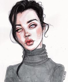 Sarah McDaniel by Lucas David Lucas David, Art Sketches, Art Drawings, Girls Anime, Pretty Art, Portrait Art, Portraits, Art Sketchbook, Dark Art