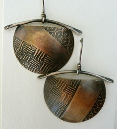 Roll printed brass earrings by Patti Wells