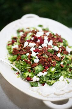 Brussels Sprouts with Cranberries, Goat Cheese, and Pecans