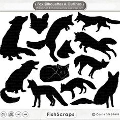 Fox Clip Art, Fox Digital Stamps. Fox Silhouettes & Outlines, Hand ...