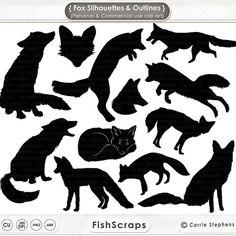 Fox Clip Art timbres Digital Fox Fox Silhouettes & par FishScraps
