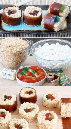 Rice Krispie Treat Recipes Sushi for kids.now this is something my kids would eat! Fun Rice Krispie Treat RecipesSushi for kids.now this is something my kids would eat! Rice Krispy Treats Recipe, Rice Crispy Treats, Krispie Treats, Rice Krispies, Delicious Desserts, Dessert Recipes, Yummy Food, Eat Sushi, Sushi For Kids
