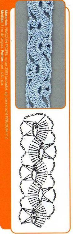 How to Crochet Wave Fan Edging Border Stitch - Crochet Ideas Bandeau Crochet, Crochet Belt, Crochet Mask, Crochet Lace Edging, Crochet Motifs, Crochet Borders, Crochet Bracelet, Crochet Diagram, Crochet Trim