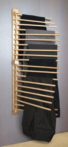 Porte Pantalons (x20) en Pin Verni pour Armoire Dressing: Amazon.fr: Cuisine & Maison: