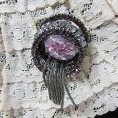 Brooch Rhinestones Circles Purple and Clear with Chain Tassels | Etsy Vintage Pins, Vintage Wood, Vintage Brooches, Etsy Shipping, Decoration, Tassels, Creations, Circles, Rhinestones