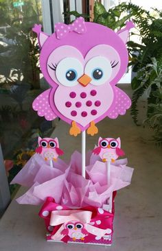 Adorable Pink Owl Baby Shower Centerpieces  by Bettysgiftsandrafts:                                                                                                                                                                                 More
