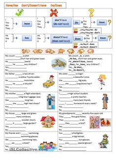 Do&Does - English ESL Worksheets for distance learning and physical classrooms Teaching English Grammar, English Grammar Worksheets, English Vocabulary, Vocabulary Worksheets, Simple Present Tense Worksheets, Grammar Practice, English Exercises, English Activities, Worksheets For Kids
