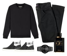 """""""Church Day"""" by amanda-elpidio ❤ liked on Polyvore featuring Yeezy by Kanye West, Hogan Rebel, Lords of Harlech, Citizen, Giorgio Armani, men's fashion and menswear"""