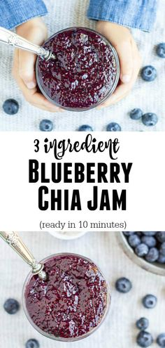 You don't have to add loads of sugar to make a good jam. In just 10 minutes, you can make this fresh blueberry jam sweetened with maple syrup and thickened with chia seeds. (Ingredients In A Jar Food Storage) Dairy Free Recipes, Paleo Recipes, Sweet Recipes, Whole Food Recipes, Gluten Free, Chia Jam, Chia Recipe, Blueberry Jam, Foods With Gluten