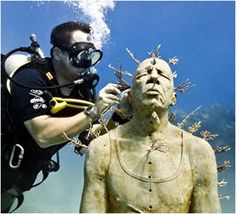 Underwater Museum in Cancun - fire coral growing in a sculpture called Man on Fire Underwater Sculpture, Underwater Art, Underwater Photography, Riviera Maya, Jason Decaires Taylor, Artificial Coral, Sculpture Museum, Man On Fire, Life Size Statues