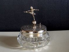 music boxes   Vintage REUGE BALLERINA Music Box Dresser/ Jewelry/ Powder JAR, Cut ...