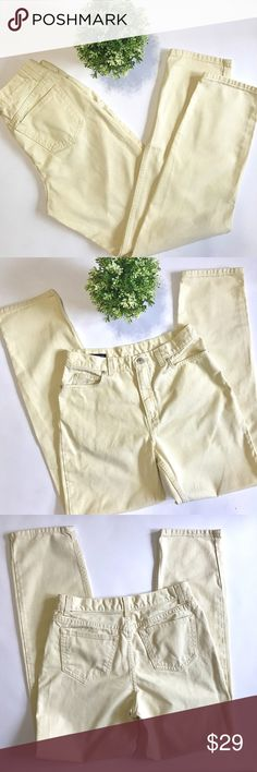 """Lands End Soft Yellow Jeans Pretty yellow jeans perfect for a normal cooler Spring. Perfect for to roll the hem and wear with Tieks, Sandals or Booties or leave long for sneakers, a wardrobe staple💕 There is a little bit of fraying on each hem but very minor(see pic 5)They fit more like a boyfriend fit and DO RUN SMALL at Size 10T they measure about 16"""" across the waist laying flat(I wear a 10 and these do not come close to buttoning)with an inseam of 33"""" and a rise of 11""""....bundle to save…"""