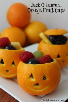 Jack O Lantern Orange Fruit Cups - Daily Leisure