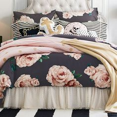 I freaking love everything about this! The Emily + Meritt Bed Of Roses Euro Sham