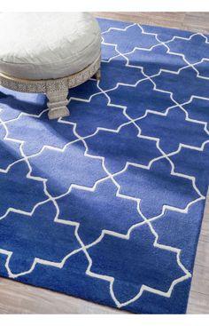 Rugs USA Satara Marrakesh Trellis Blue Rain Rug - 2 biggest sizes, one for dining room, one for living room.