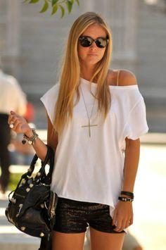Oversized white basic tee, sequin shorts, cross necklace & layered charm bracelets.