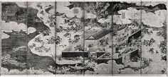 29. The Battle at Ichinotani, Scenes from The Tale of the Heike - Tosa School - Edo period (17th century)