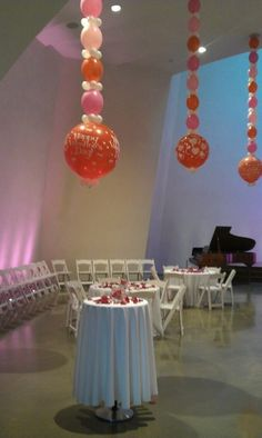 Balloon chain Chandeliers at Cathedral of Hope.