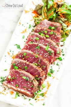 Seared Ahi Marinated Seared Ahi Tuna - Made this. So crazy good!Marinated Seared Ahi Tuna - Made this. So crazy good! Fish Recipes, Seafood Recipes, Asian Recipes, Cooking Recipes, Healthy Recipes, Fresh Tuna Steak Recipes, Easy Steak Recipes, Cooking Pasta, Tuna