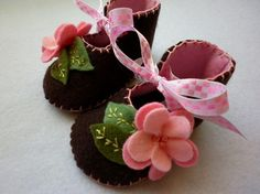 Chocolate brown baby girl booties with pink by FiestaKidsBoutique, $24.50