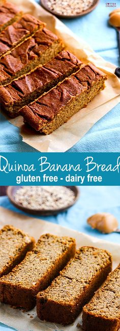 Cook once, eat twice! A great way to use up leftover quinoa is to whip up this healthy gluten free banana bread. It's made with cooked quinoa, is super easy to make, dairy free, naturally higher in protein, and very moist. Gluten free banana bread made with REAL food ingredients that already in your pantry! Perfect for breakfast or snacking! #cottercrunch