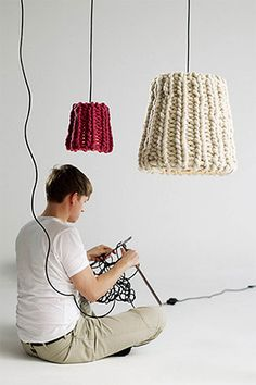 Wool knitted hanging lamp