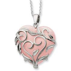 Polished sterling silver and heart shaped rose quartz pendant hangs from an 18in sterling silver chain. Pendant size: 1in x 1in without bail.