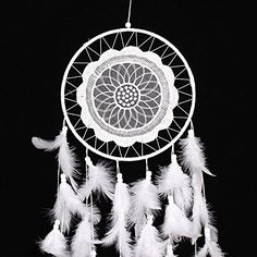 YYAO® 2016 Handmade Traditional Original Dream Catcher,(White Laces)with 8″ Diameter & 24.8″ Long(With a Gift)