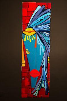 Abstract Face Art, Contemporary Abstract Art, Modern Art, Tableau Pop Art, Cubist Art, African Paintings, Glass Wall Art, Mosaic Art, Wood Art