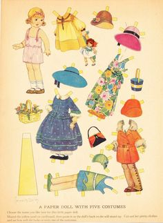 A Paper Doll with Five Costumes, c. 1932 | Artist: Corinne R. Bailey.