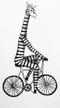 Bicyclette & Marinière  Girafe - Vélo - Dessin - Illustration