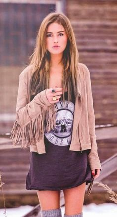 Fringe and band tee