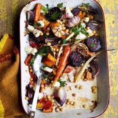 Roasted Vegetables With Halloumi recipe on HOUSE - design, food and travel by House & Garden. Healthy & Easy, vegetarian Recipes from House & Garden. Easy Healthy Recipes, Vegetable Recipes, Vegetarian Recipes, Easy Meals, Cooking Recipes, Vegetable Lasagne, Healthy Recepies, Healthy Eats, Halloumi