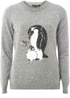 638fdcd78d Grey Sequin Pearl Penguin Jumper. Christmas sweater fashions. I m an  affiliate marketer