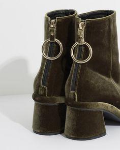 Reike Nen Ring Slim Boots in Olive Velvet | The Dreslyn